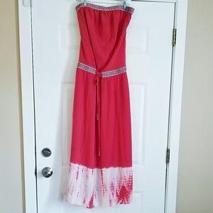 Gypsy Global Village 100% Silk Orange Maxi Dress M